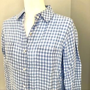 Lilly Pulitzer 100% Linen Blue Gingham XS Blouse